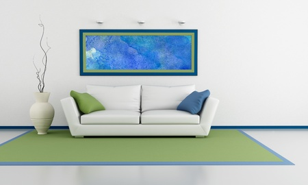 living room sofa: minimalist living room with white sofa with couch and abstract picture on wall - rendering- the art picture on wall is a my composition Stock Photo