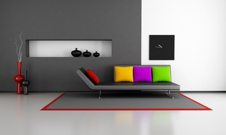 minimalist black and white lounge with couch and colorful pillow - rendering photo