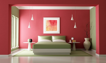 Red and green contemporary bedroom - rendering-the art picture on wall is a my composition photo