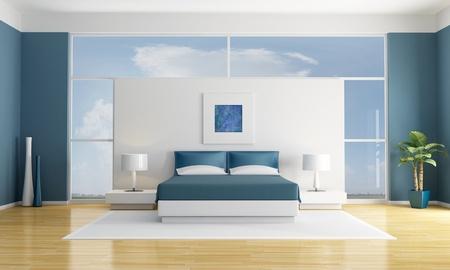 cama: habitaci�n minimalista blanco y azul - representaci�n - la imagen del arte en la pared son mis composiciones Foto de archivo