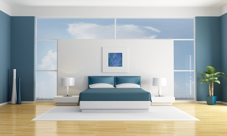 minimalist white and blue bedroom - rendering - the art picture on wall are my compositions photo