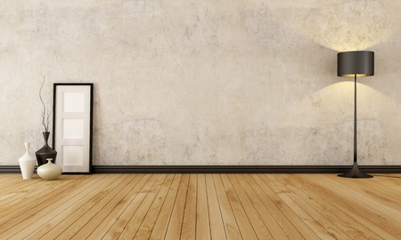 empty room with hardwood floor and old wall - rendering photo