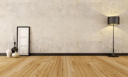 stanza vuota con pavimento in legno e vecchio muro - rendering Archivio Fotografico
