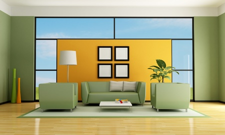 green and orange living room with sofa and armchair - rendering photo