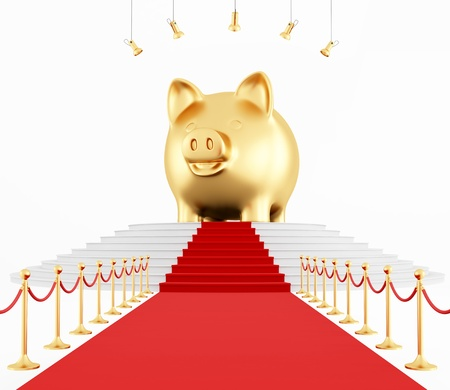 golden coins: golden piggy bank on the red carpet - rendering Stock Photo