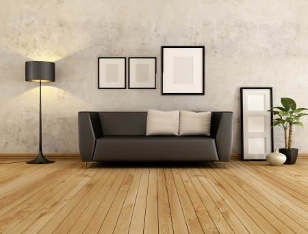 living room minimalist: brown couch with cushion against old wall in a living room - rendering