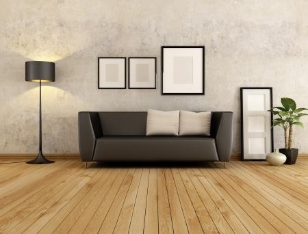 sala de estar: Brown sof� con cojines contra la pared de edad en una sala de estar - la prestaci�n Foto de archivo