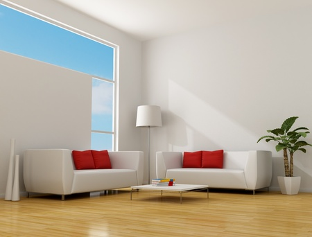 couch: white minimalist lounge with two contemporary sofa with red pillow - rendering