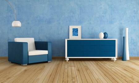fashion armchair  against blue  wall in a living room - rendering photo