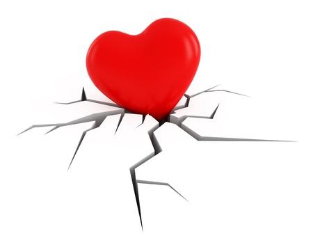 corazon roto: imagen conceptual el amor, el corazón mueve hacia abajo en la superficie de fractura Foto de archivo