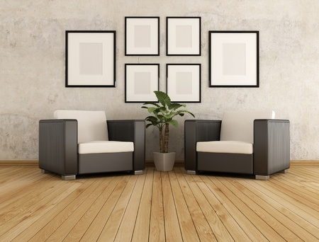 two armchair  against old wall in a living room - rendering photo
