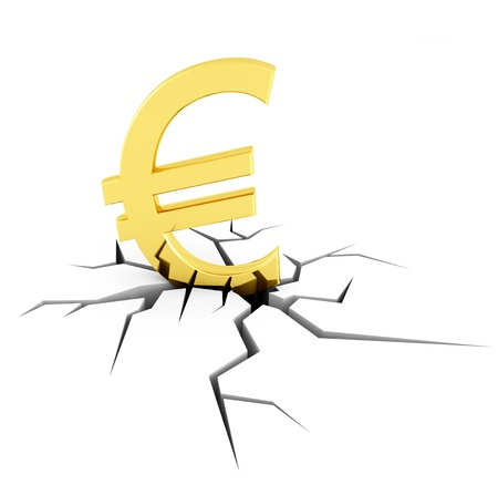 moving down: conceptual image of the euro crisis - rendering