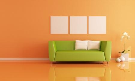divano: divano verde in un salotto arancione - rendering