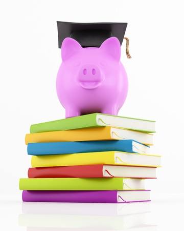 piggy bank with graduation cap on stack of colorful books on white - rendering photo