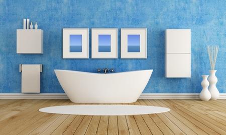 bathroom wall: blue bathroom with fashion bathtub  - rendering
