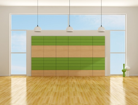empty interior with wood and laminate panel - rendering Stock Photo - 11995104