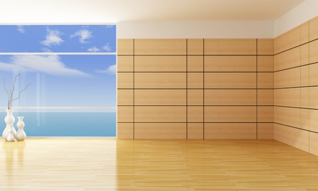 empty living room with wooden panels - rendering Stock Photo - 11995100