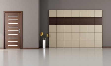 empty room with closed modern door-wood and laminate panels - rendering Stock Photo