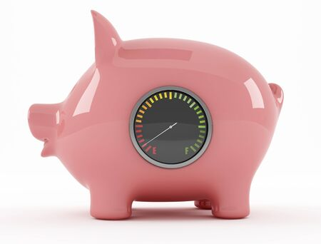 empty piggy bank with fuel gauge - rendering photo