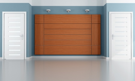 empty room with two closed modern door and wood  panels - rendering Stock Photo - 11995099