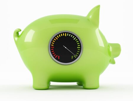 piggy bank full with fuel gauge - rendering photo