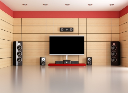 home audio: empty living room with home theater system - rendering