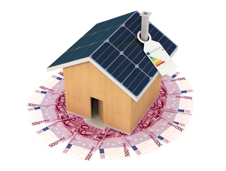 concept of savings with an ecological house - rendering Stock Photo - 11995098