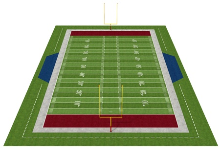 american football field: Perspective view of an american  football field - rendering Stock Photo