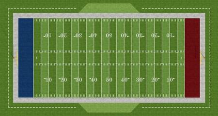 blue top: Top view of an american  football field - rendering