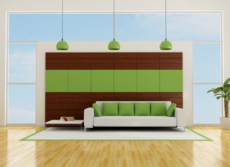 contemporary living room with wooden panel and sofa-rendering Stock Photo - 12326616
