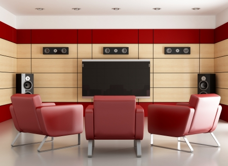 stereo: home cinema with wooden panels and three armchair-rendering
