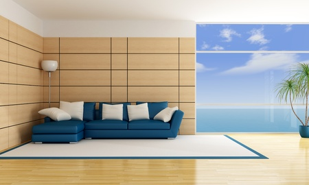 livingroom: minimalist luonge of an holiday villa - rendering