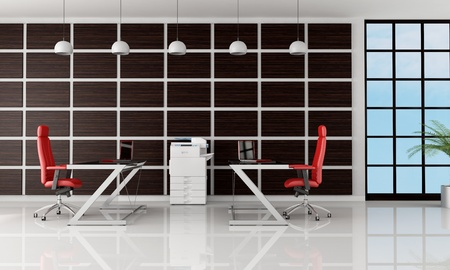 two work stations against dark wooden panel - rendering photo