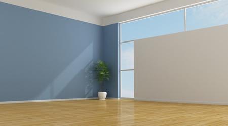 Empty blu living room with parquet - rendering Stock Photo - 12326627
