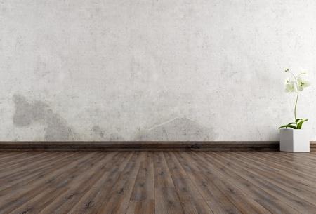 vase plaster: empty grunge interior with flower - rendering