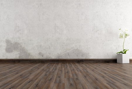 empty grunge interior with flower - rendering
