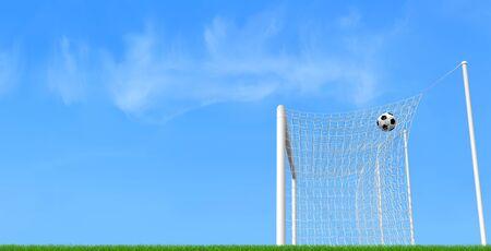 goalpost: soccer ball in a goalpost against blue sky