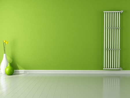 green empty room with hot water vertical radiator - rendering  photo