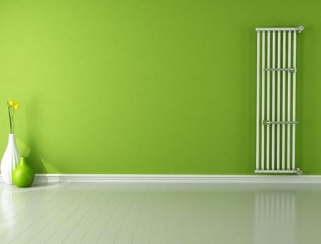 warm water: groene lege kamer met warm water verticale radiator - rendering
