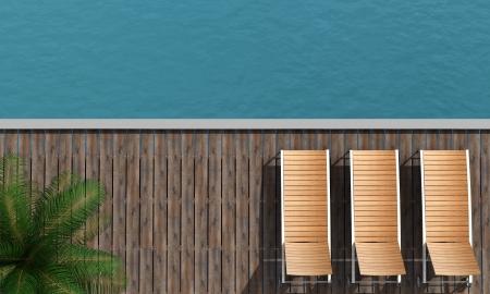 silla playa: vista desde arriba de una silla de playa con el paseo mar�timo de tres y palmera