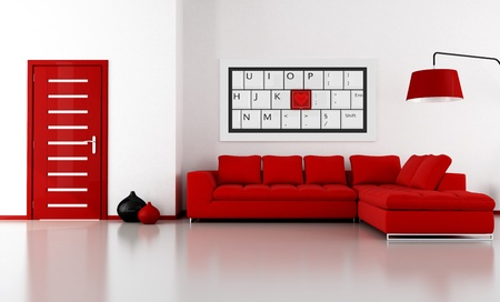 bright livingroom with angle sofa and door - the art picture on wall is amy rendering composition photo