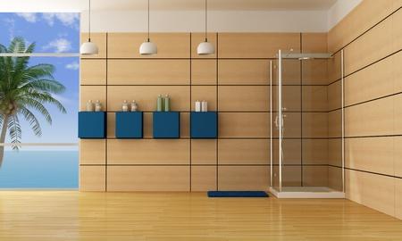 bathroom wall: luxury bathroom with cabin shower -rendering Stock Photo