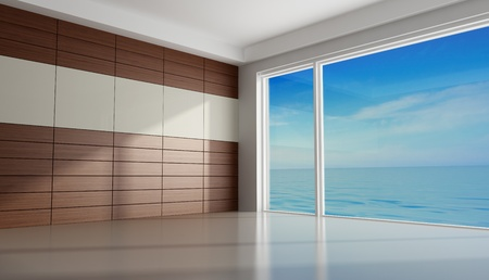 Empty room of an holiday villa with wooden panel - rendering photo