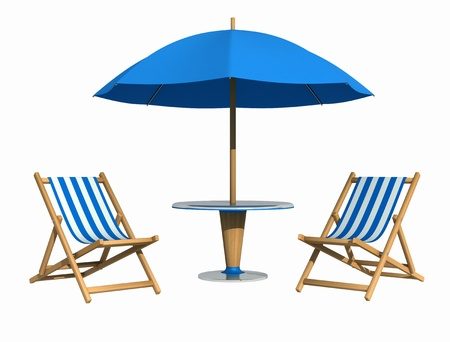 Blue deckchair and parasol with table isolated on white photo