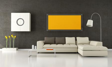 livingrooms: Brown and beige  livingroom - rendering