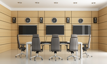 CONFERENCE TABLE: conference room for video conference - rendering Stock Photo
