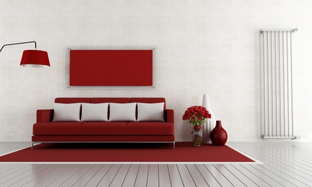 minimalist interior: modern red and with lounge with couch and vertical radiator - rendering