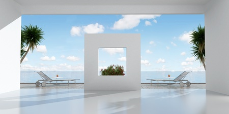 white holiday villa with terrace overlooking the sea - rendering