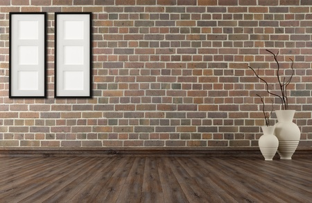 livingrooms: empty vintage room with brick wall and old parquet -rendering