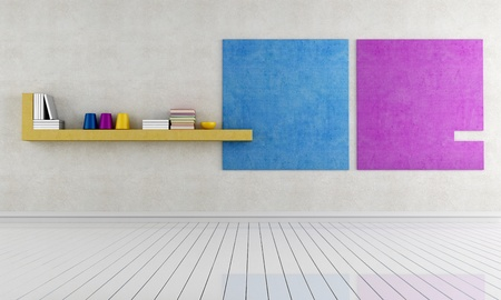 empty minimalist interior  with colored stucco wall - rendering Stock Photo - 12759706